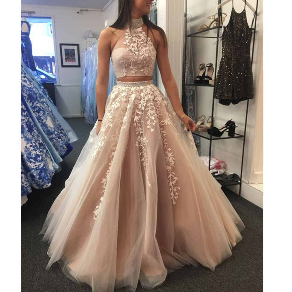 Two Pieces Prom Dresses 2020 Halter Neckline Lace Sequins Beading A Line Champagne Crystal Evening Dresses
