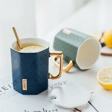 Nordic Ceramic Coffee Cups Marbling Tea Mug Office Milk Cup Phnom Penh Handle Mugs with Spoon Lid Kitchen Drinkware Couple Gifts недорого