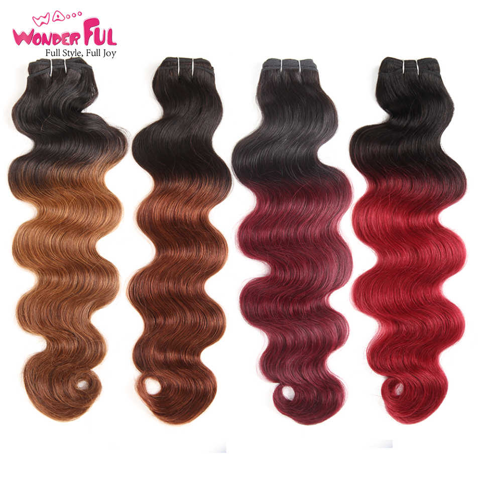 Body Wave Brazilian Hair Weave Bundels 113G Remy Hair Extension Pre-Gekleurde P4/27 P1B/30 p4/30 Bruin Human Hair Extensions 1 Pcs