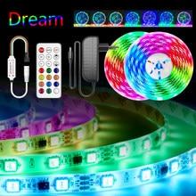 5m 10m ws2811 luzes led sonho rgbww rgb led tira luz endereçável 15m 20m 5050 pixel led fita com adaptador + controlador