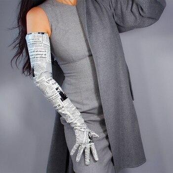 LATEX LONG GLOVES Shine Leather PU 28 70cm Newspaper Print Black White Contrast Women Long Gloves 2020 NEW WPU214