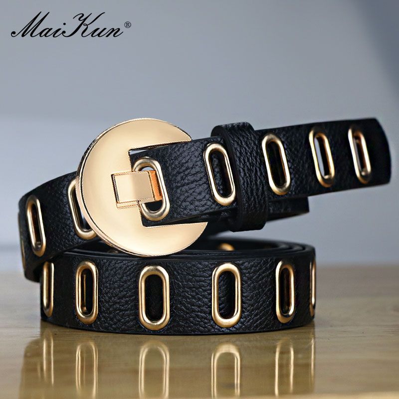 Maikun New Grunge Women Belt Adjustable Hole Grunge Punk  Belts For Women Alloy Pin Buckle Leather Belt for Pants Dresses