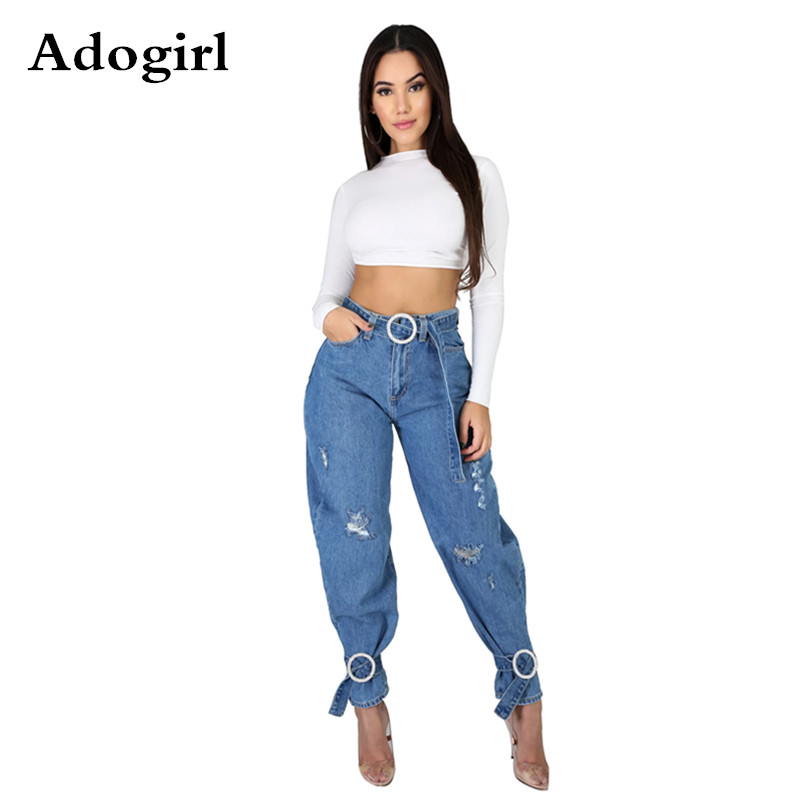 High Waist Hole Denim Pants 2020 Spring Summer Skinny Jeans Woman Retro Casual Hole Jeans Ripped Pencil Trousers Sashes Pants