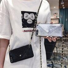 ホットガールズクロスボディバッグ財布ロングストラップケースカバーiphone 11 12プロxs最大xr × 6s 8 7 6プラスカードスロットポーチ財布カバー