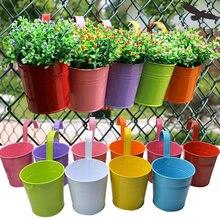 10 Uds Multilcolor Metal colgando macetas valla colgando macetas jardín balcón pared Vertical balde colgante titular de la cesta