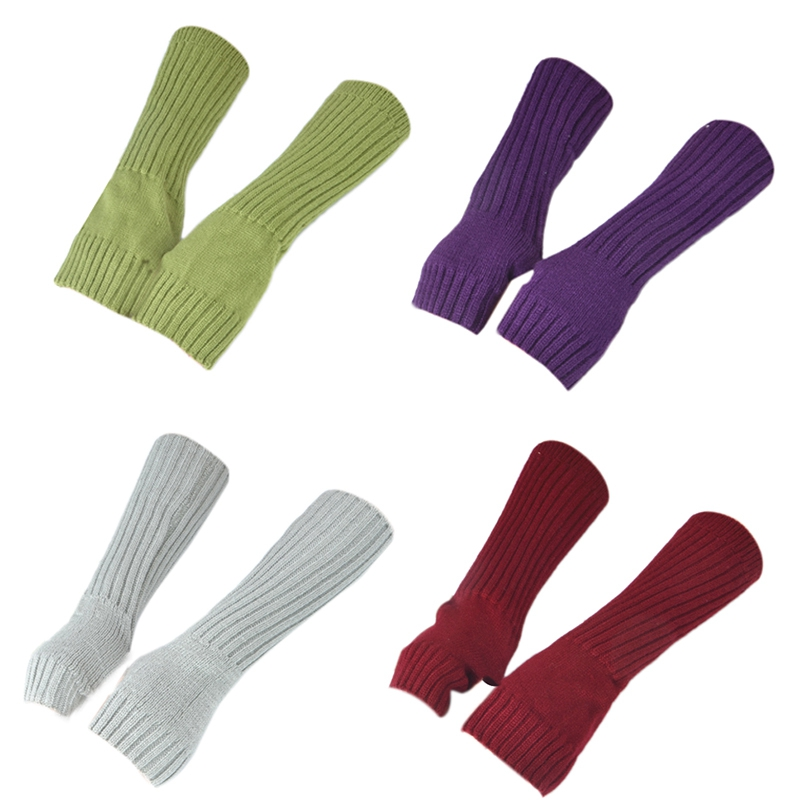 ABDB-Autumn And Winter Ladies Knitted Warm Arm Sleeves Sleeves Pure Color Fake Sleeves Cold Protection 4 Pairs