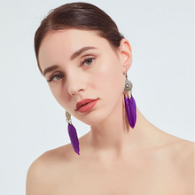 цена на Popular Retro Orange purple Lake blue Sun Flower Earrings Fashion Feather Tassel Dangle Earrings for Women Girl Jewelry Wedding
