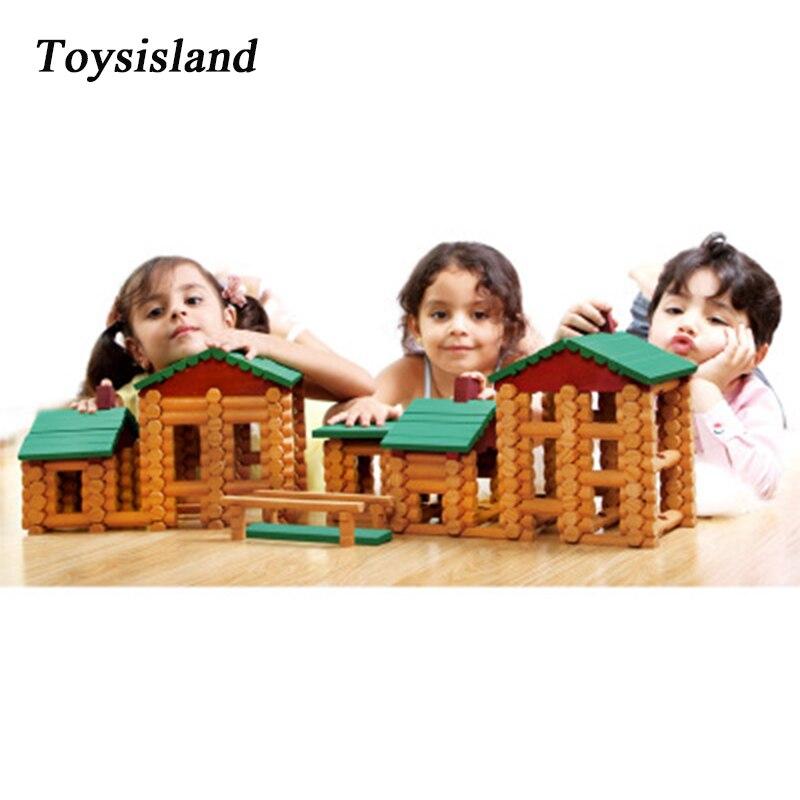 90pcs/170pcs Lincoln Wooden Room Forest Log Set Creative Assembles Toy Forest Farm Houses Model Brick Blocks Gift For Kids