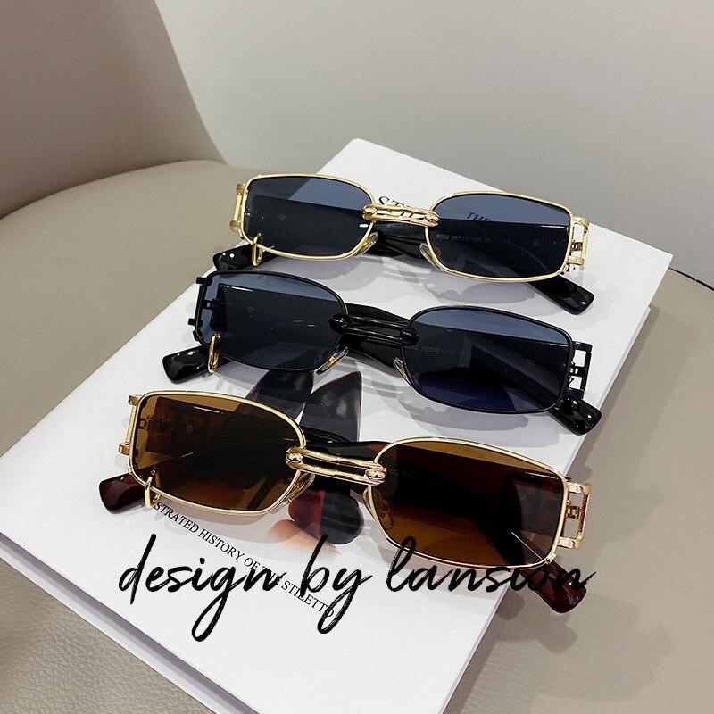 1 шт. 2020 прямоугольные солнцезащитные очки унисекс винтажные металлические квадратные роскошные очки для мужчин и женщин прямоугольные сол...