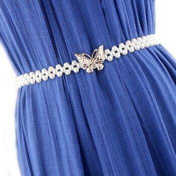 Women Belts Luxury Brand 15 Styles Pearl Waist Belt Elastic Buckle Pearl Chain Waistband Female Girls Dress Crystal Waist Strap