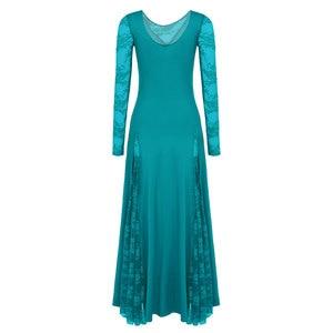 Image 4 - セクシーなレース社交ダンスドレス女性長袖ワルツタンゴダンスのドレス標準社交ドレス黒/赤/ ブルー/グリーン