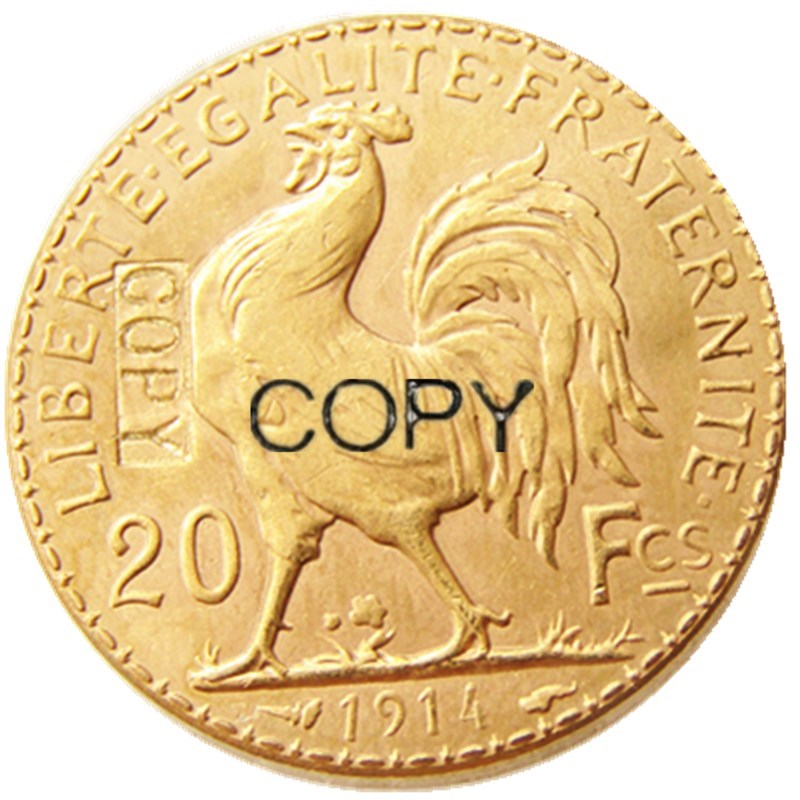 <font><b>1914</b></font> France 20 Franc Rooste Gold Plated Copy Coin image