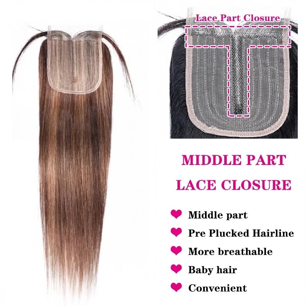 HD Transparent Human Hair Lace Closure Only Straight 4X1 Inch Highlight P4/27 Bresilienne Cheveux Humain Non-Remy Brazilian