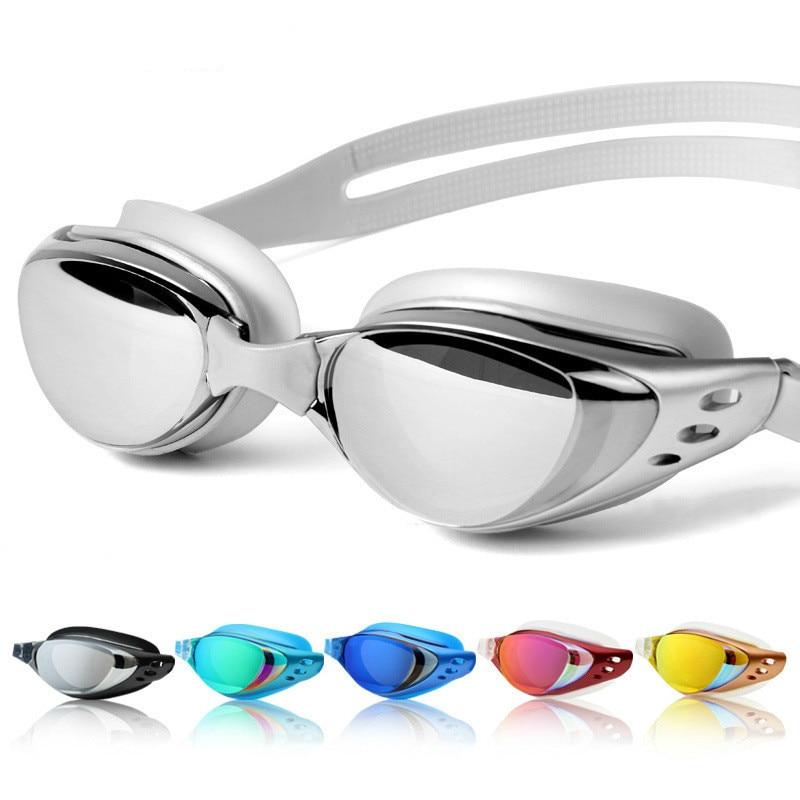 Очки для плавания для мужчин и женщин, профессиональные противотуманные водонепроницаемые силиконовые очки для плавания в бассейне, при бл...