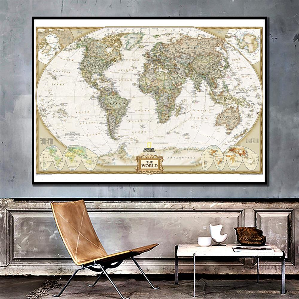 The World Spray Map 150x100cm Non-woven Map Without National Flag For Beginner