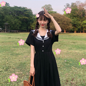 Japanese Mori Girl Summer Dress Sweet Sailor Collar Cute Short Sleeve Dress Harajuku Vintage Diablo Kawaii Ball Pleated Dress