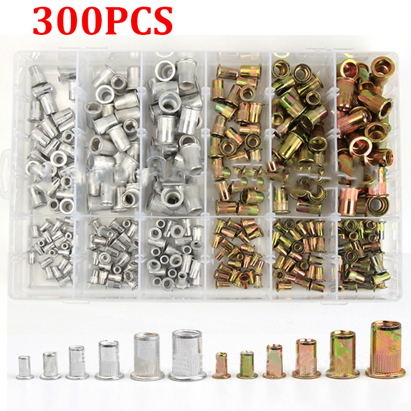 300pcs Zinc Plated Rivetnuts Blind Set Nutserts Threaded Insert Nutsert Cap Flat Head Rivet Nuts Carbon Steel M3 M4 M5 M6 M8 M10