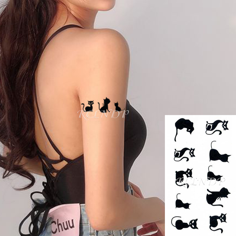 Waterproof Temporary Tattoo Sticker Cat Fox Animal Fake Tatto Flash Tatoo Neck Hand Back Foot Shoulder for Kids Women Men