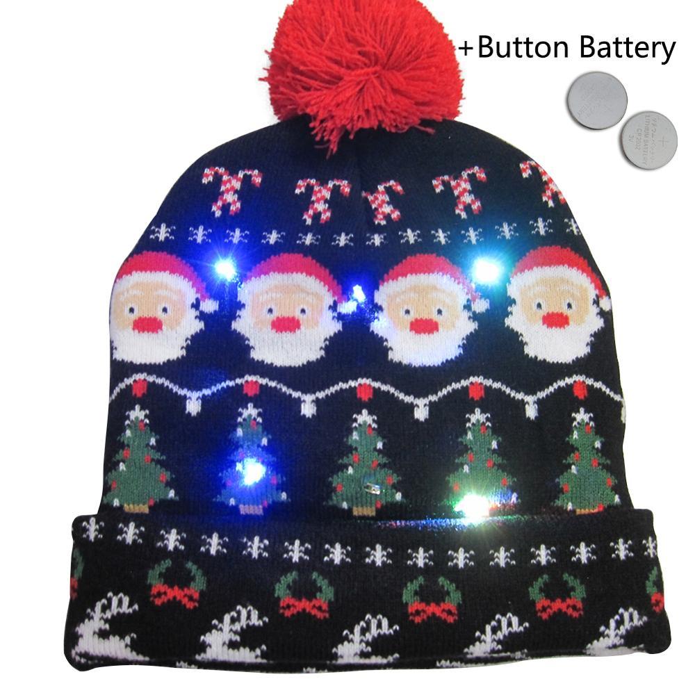 UK XMAS LED Christmas Party Beanie Christmas Santa Hat Light Up Hats Adult Kids