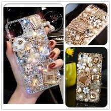 Custodie in cristallo Bling di lusso con borsa in oro 3D per Samsung Galaxy S10E S9 S10 S20 S21 Plus FE Note 10 Lite 20 Ultra 9