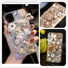 Luxe 3D Goud Portemonnee Vervoer Bling Crystal Cases Voor Samsung Galaxy S10E S9 S10 S20 Plus Fe Fan Editie Note 10 Lite 20 Ultra 9