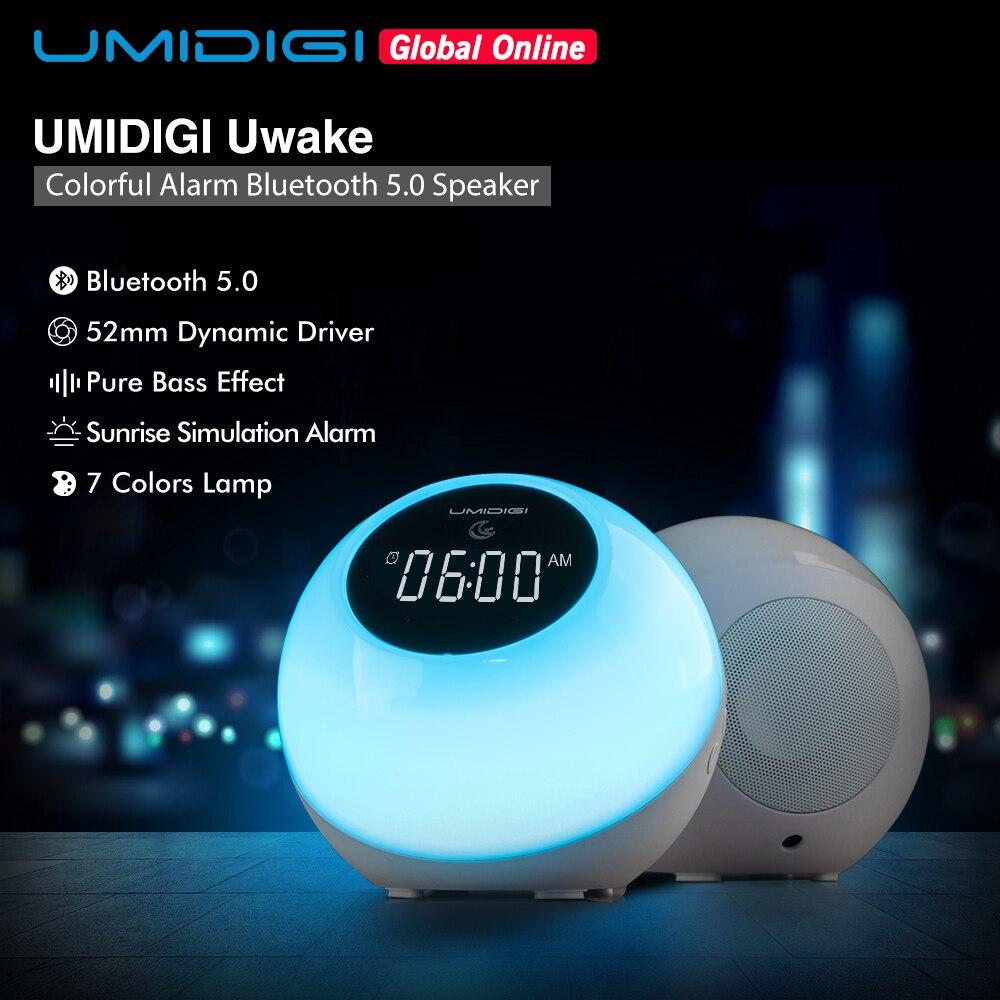 UMIDIGI Uwake Wireless Bluetooth Speaker Portable LED Loudspeaker Touches Lamp Stereo Music Surround Outdoor Speaker Alarm Clock