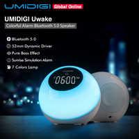 Umidigi uwake sem fio bluetooth alto-falante portátil led toca lâmpada estéreo música surround ao ar livre alto-falante despertador