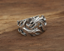 925 Sterling Silver Ring Adjustable Ring Retro Thai Silver Cool Dragon Ring