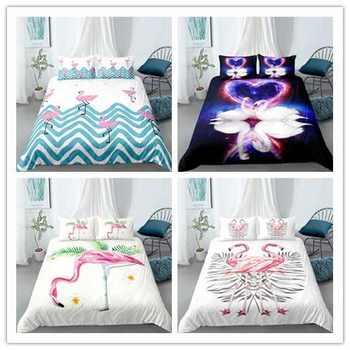 Fashion Bedding Set Jungle Flamingo Floral Printed Duvet Cover Set Twin Full Queen King Bedding
