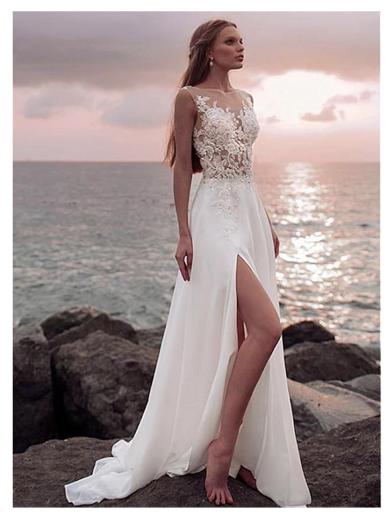 Boho Wedding Dress  A-Line Appliques Chiffon Bride Dress Side Split Floor Length Wedding Gown Free Shipping For Women