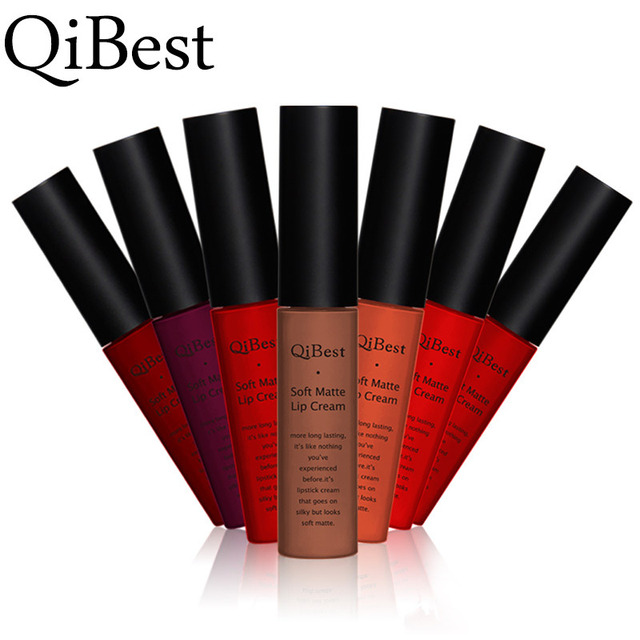 Qibest Brand 34 Colors Waterproof Matte Nude Lipstick Lipkit Pigment Dark Red Black Long Lasting Lip Gloss Women Makeup Lipgloss 5