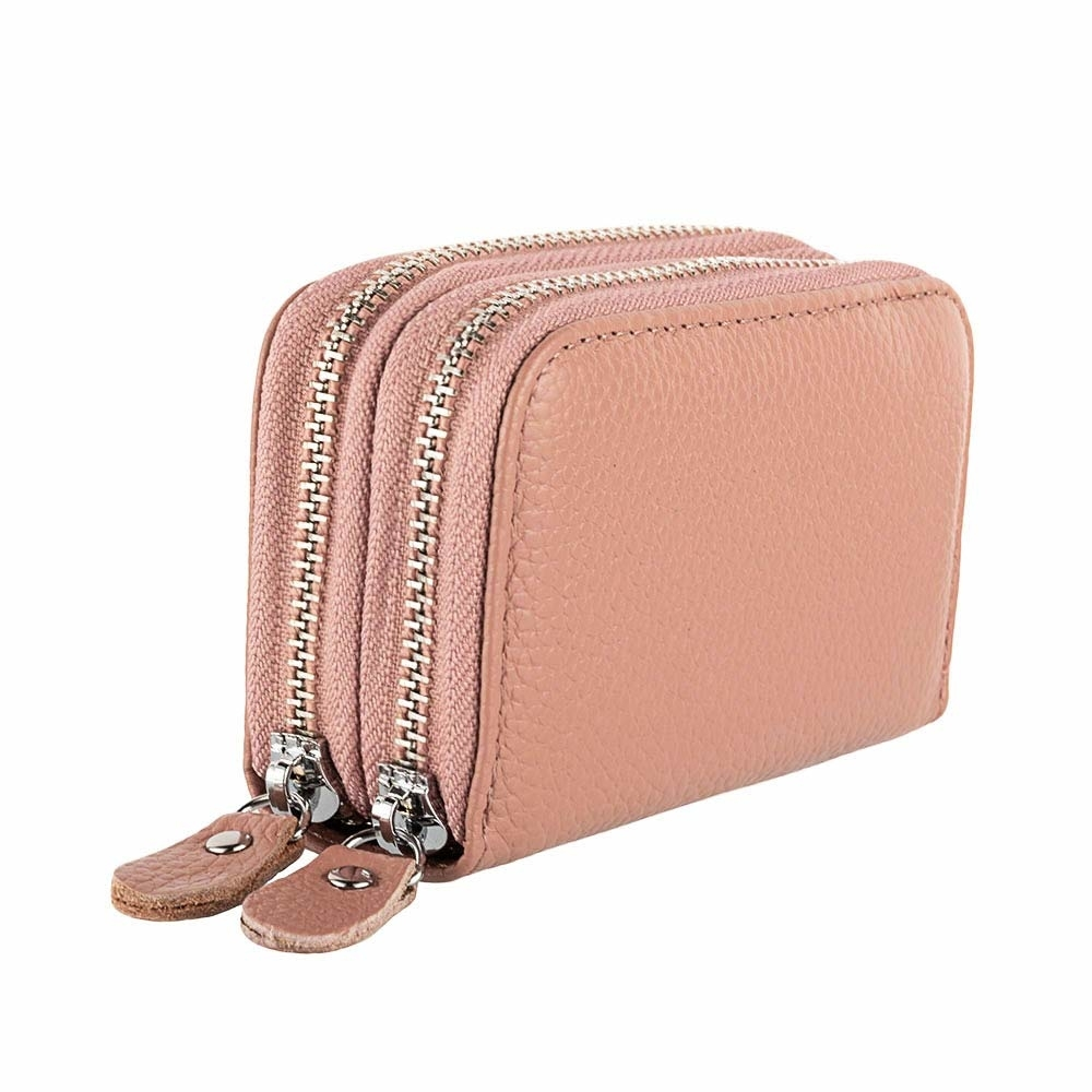 Women's Genuine Leather RFID Secure Zipper Credit Card Holder Coin Purse Card-Holder Women Wallet Female Lady Fashion Wallets