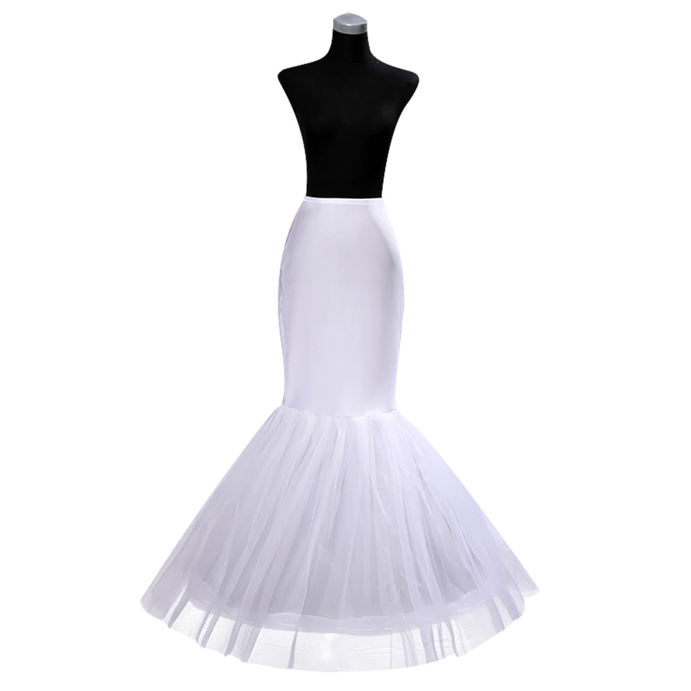 OLLYMURS Bridal Slippery Thin Evening Dress White Big Fishtail Wedding Slip Dress Black White Petticoat Wedding Accessories