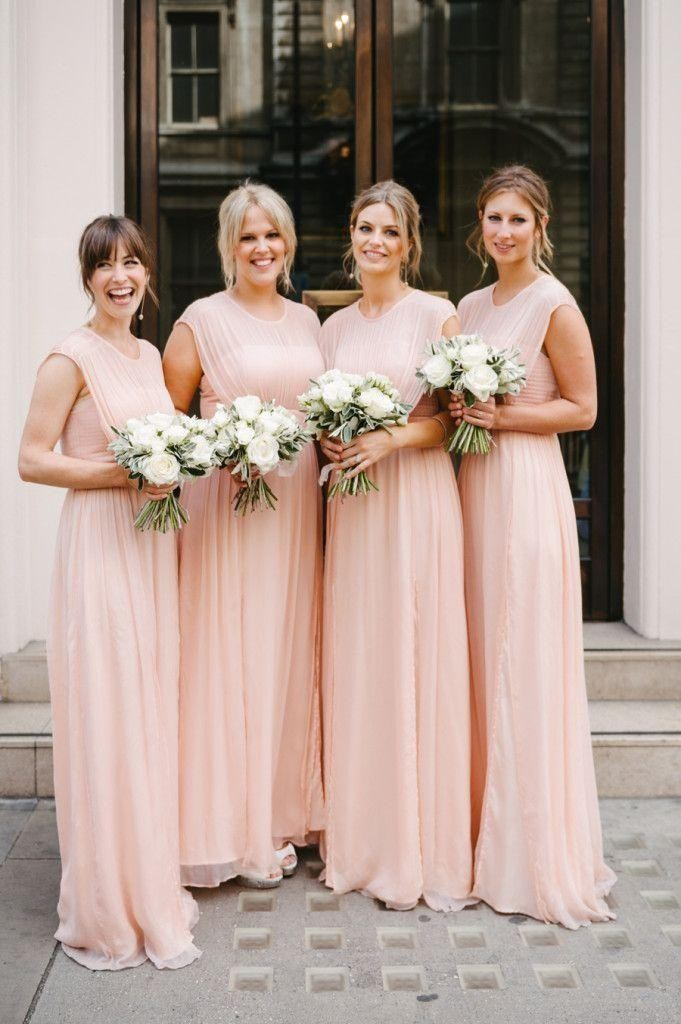 Chiffon Long Bridesmaid Dresses Pink High Neck Sleeveless Ruffled Floor Length A Line Formal Dress 2015