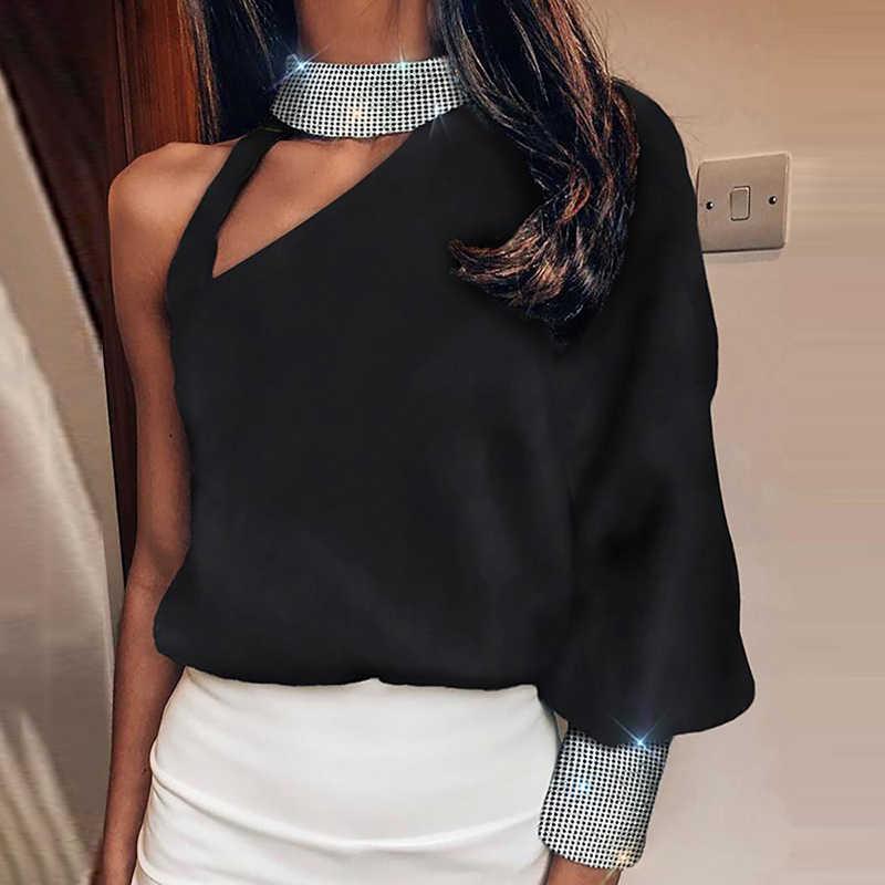 女性のランタン長袖スパンコールブラウスセクシーなオフショルダータートルネックトップス秋のファッションアウト中空高輝度光沢のあるシャツブラウス