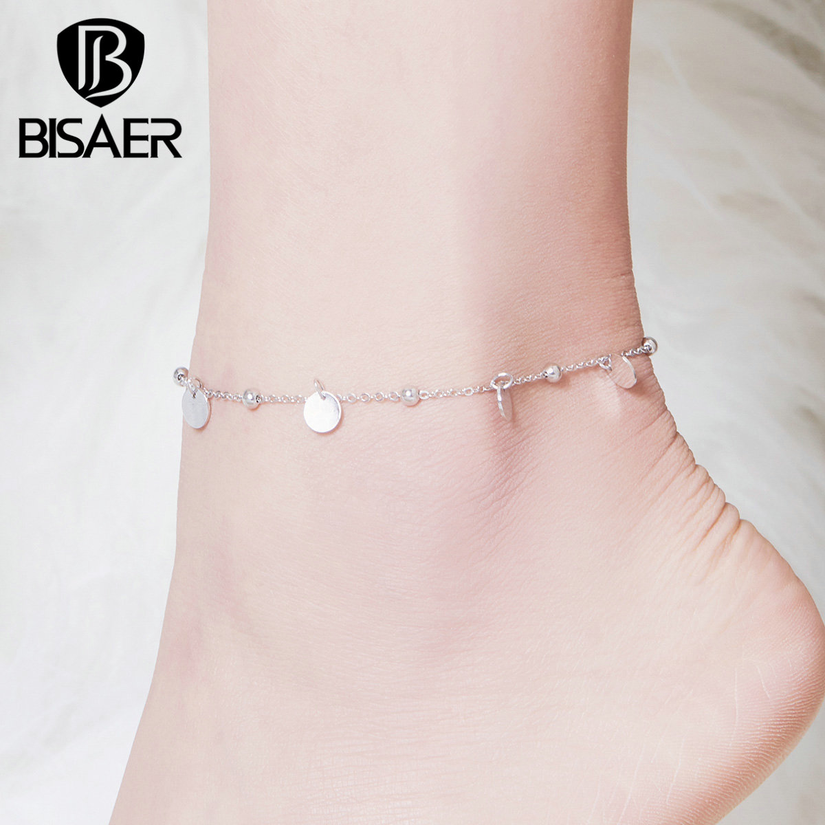 Anklets BISAER 925 Sterling Silver Round Coin Chain Women Anklets for Women Lobster Clasp Sterling Silver Jewelry ECT011