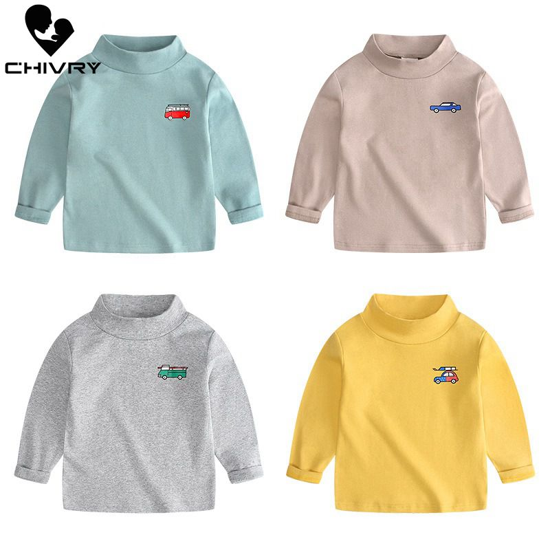 New 2019 Spring Autumn Boys Girls Kids Fashion T Shirt Tops Children Turtleneck Long Sleeve Car Embroidery T-shirts For 2-6T