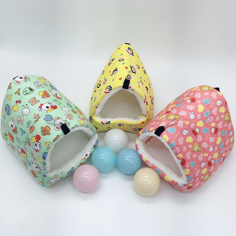 Warm plush hamster cage nest small animal Dutch pig hedgehog rabbit winter soft cute colorful sleep bed small pet supplies