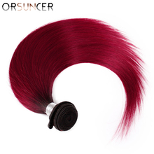 ORSUNCER Ombre Red Dark Root Hair Bundles Deal Straight Peruvian T1B% 2FBug Человеческие волосы Наращивание Non-Remy Ombre Hair Medium Ratio