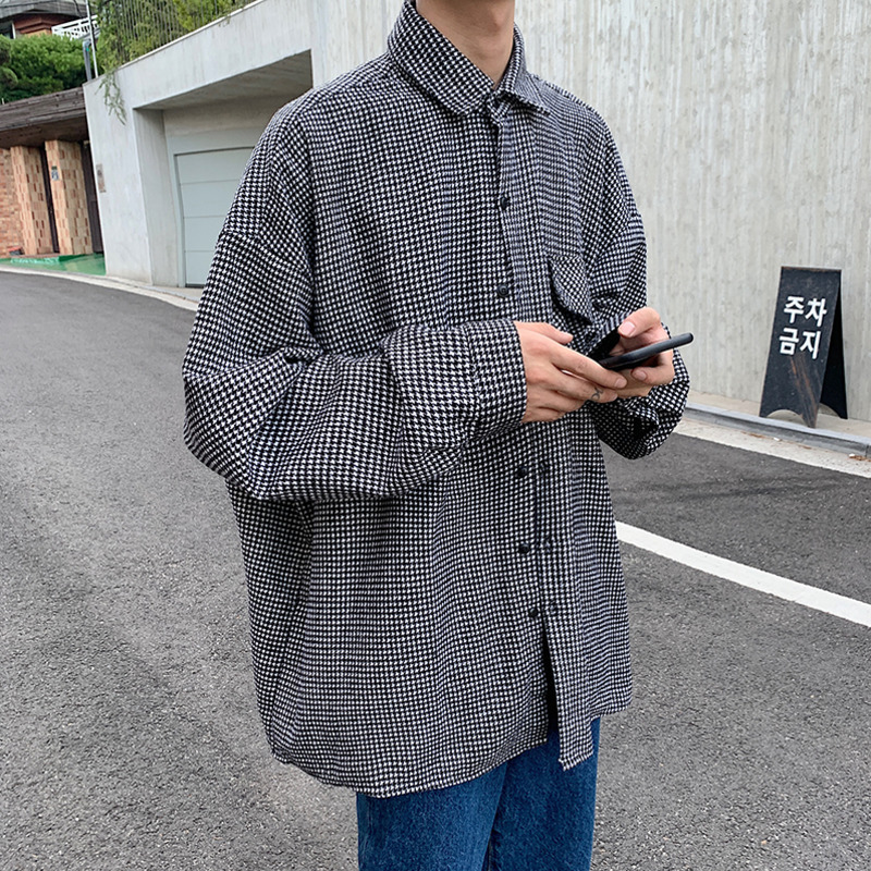 Plaid Shirt Men Fashion Society Men Shirt Retro Casual Shirt Street Loose Long Sleeve Shirts Male Wild Dress Shirt Mens M-2XL