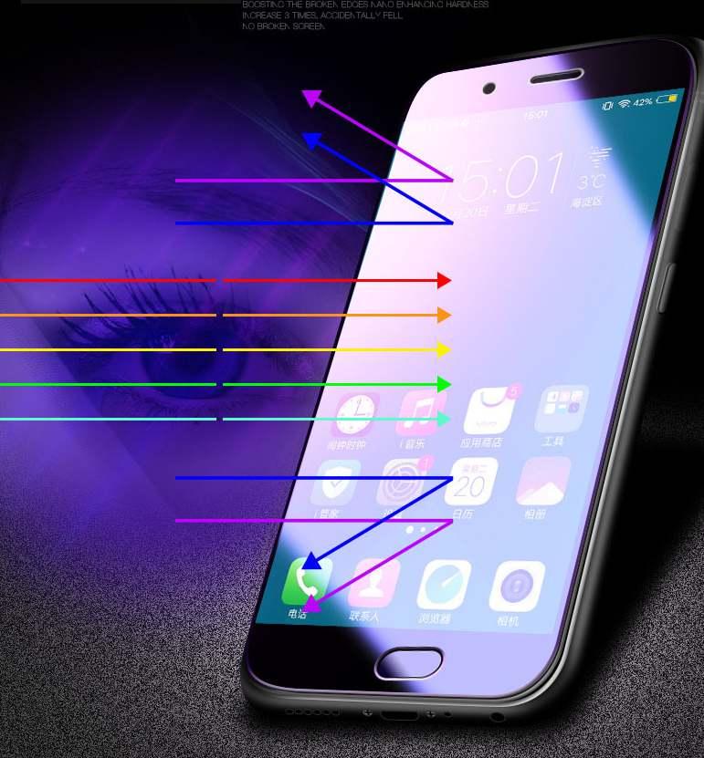 Anti-Púrpura cubierto Completo Protector de Pantalla de Vidrio Templado para iPhone XS Max Lote