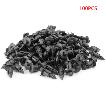 100 Pcs Car Plastic Rivets 6mm Hole Fastener Fender Bumper Push Pin Clip image