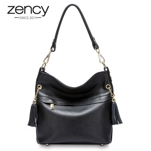 Image 1 - Zency 100% Genuine Leather Charm Women Shoulder Bag With Tassel Fashion Lady Messenger Crossbody Purse Black White Handbag