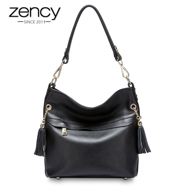 Zency 100% Genuine Leather Charm Women Shoulder Bag With Tassel Fashion Lady Messenger Crossbody Purse Black White Handbag