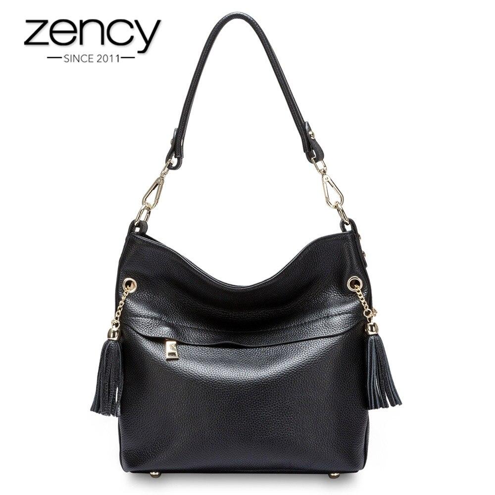 Image 2 - Zency 100% Очаровательная женская сумка на плечо из натуральной  кожи с кисточкой, модная женская сумка мессенджер через плечо, сумочка  черного и белого цветаСумки с ручками