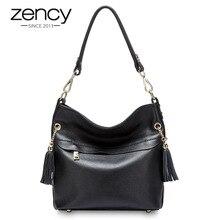 Zency 100% 本革チャーム女性ショルダーバッグとタッセルのファッションの女性メッセンジャークロスボディバッグ財布ブラックホワイトハンドバッグ
