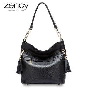 Image 1 - Zency 100% натуральная кожа, Очаровательная женская сумка на плечо с кисточкой, модная женская сумка мессенджер через плечо, сумочка черного и белого цвета