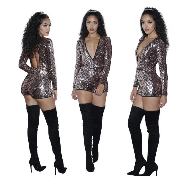 Sexy Women Shining Colorful Sequined Jumpsuit New Fashion Autumn Long Sleeve Sparkly Playsuit Feminino Clubwear Jumpsuit