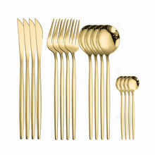 Gold Tableware Set Stainless Steel Cutlery Set Black Gold Dinnerware Kitchen Dinner Set 16 Pieces Fork Spoon Knife Dropshipping