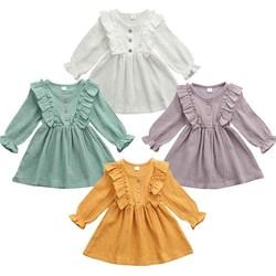 Новое Повседневное платье из хлопка и льна для маленьких девочек, комплект одежды, сарафан